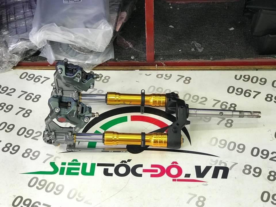 Phuộc CNC trảng 3, 2 heo brembo STD-1017 Yamaha